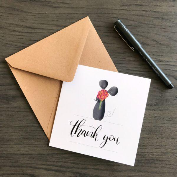 Grusskarte Thank you, Dankeskarte mit Mausmotiv, Klappkarte