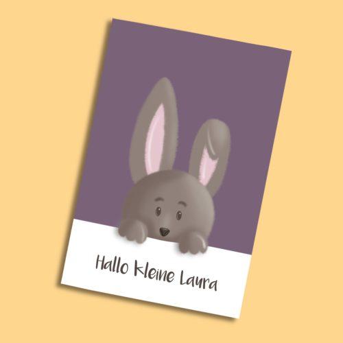 Personalisierbare Karte zur Geburt mit Hase