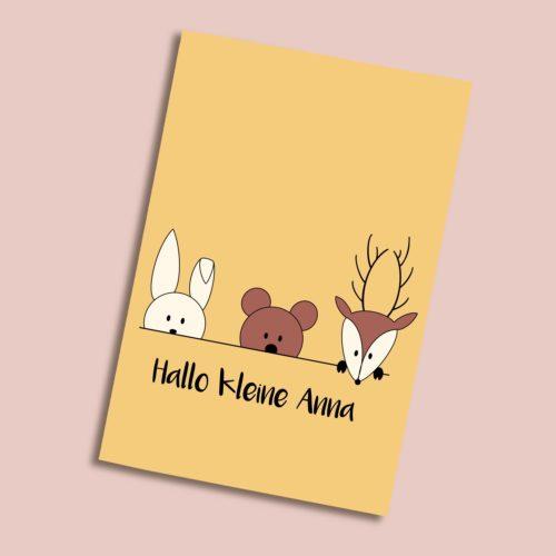 Personalisierbare Karte zur Geburt mit Hase, Bär und Hirsch