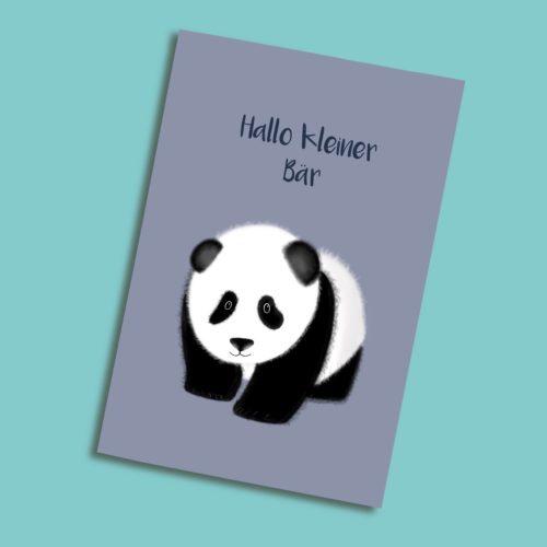 Grusskarte zur Geburt mit Panda