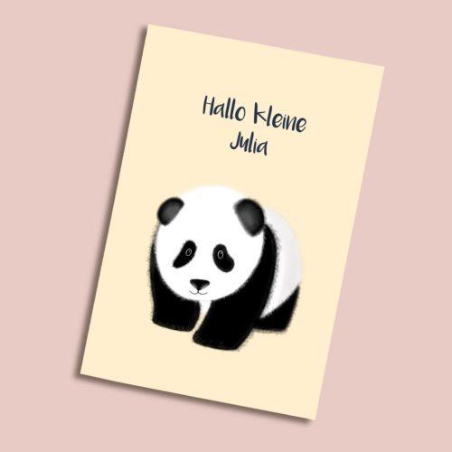 Personalisierbare Karte zur Geburt mit Panda