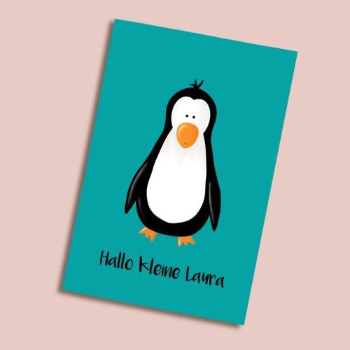 Personalisierbare Karte zur Geburt mit Pinguin