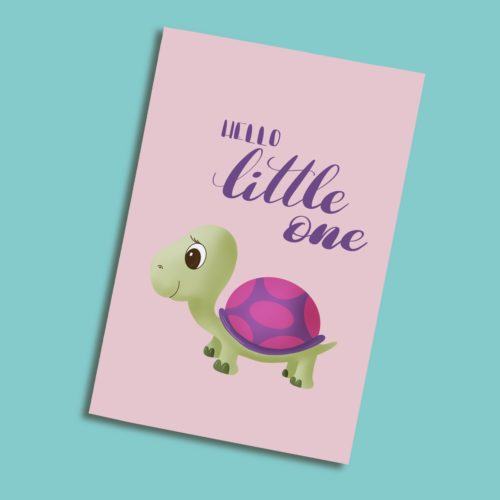 Karten zur Geburt mit einer rosa Schildkröte