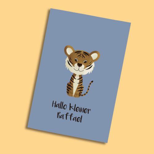 Personalisierbare Karte zur Geburt mit Tiger
