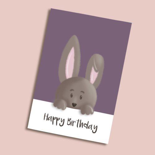 Karte zum Geburtstag mit Hase