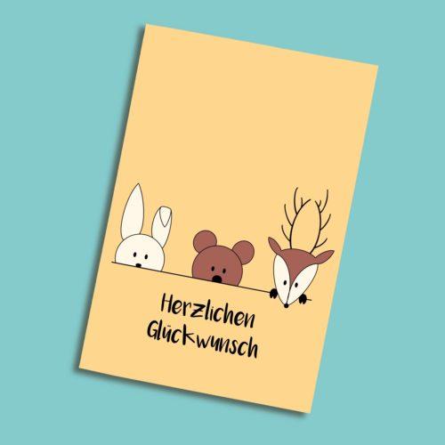 Karte zum Geburtstag mit Hase, Bär, Hirsch