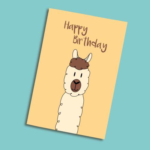 Karte zum Geburtstag mit Lama