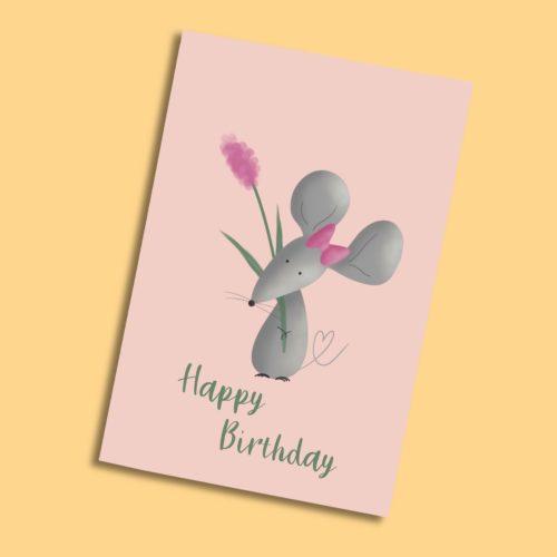 Karte zum Geburtstag mit Maus