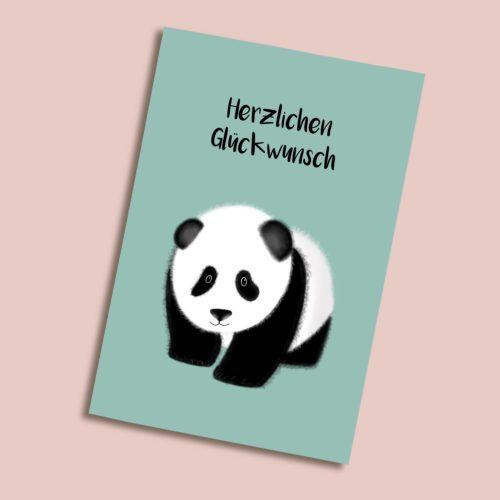 Karte zum Geburtstag mit Panda