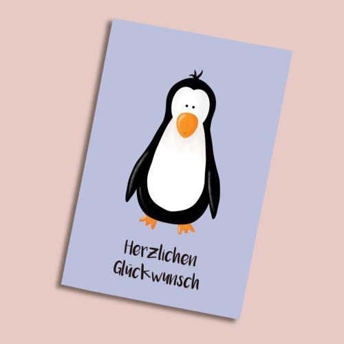 Karte zum Geburtstag mit Pinguin