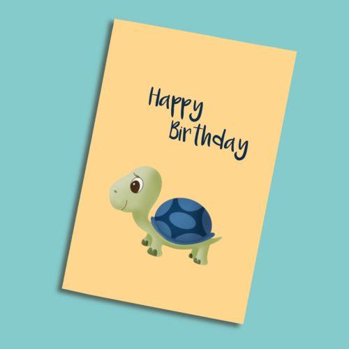 Karte zum Geburtstag mit einer Schildkröte blau