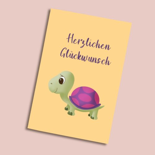 Karte zum Geburtstag mit einer Schildkröte pink