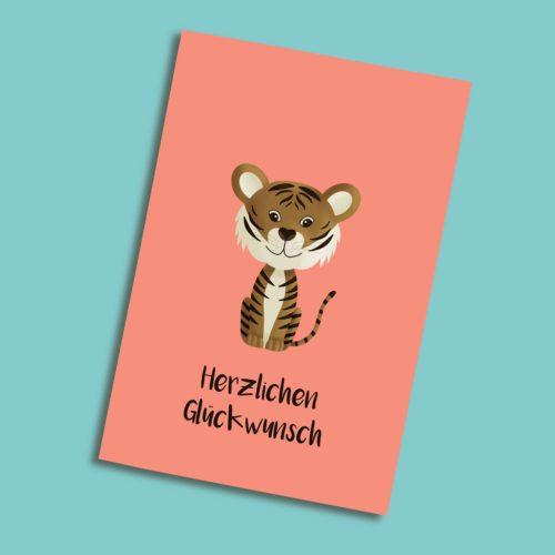Karte zum Geburtstag mit einem Tiger