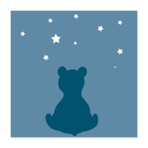 Poster mit einem Bär und Sternenhimmel