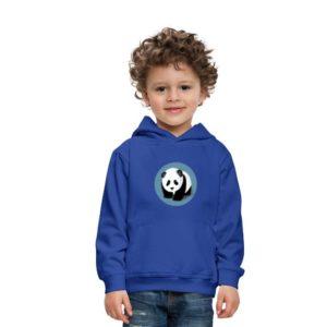 Blauer Hoodie-Pullover mit einem Panda